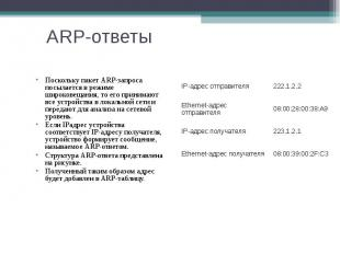 ARP-ответы Поскольку пакет ARP-запроса посылается в режиме широковещания, то его