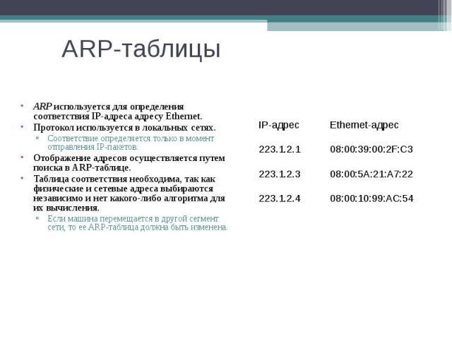 ARP-таблицы ARP используется для определения соответствия IP-адреса адресу Ethernet. Протокол используется в локальных сетях. Соответствие определяется только в момент отправления IP-пакетов. Отображение адресов осуществляется путем поиска в ARP-таб…