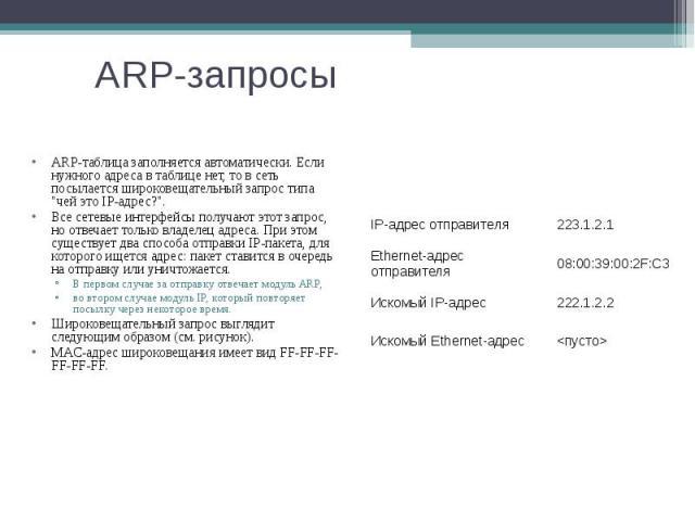ARP-запросы ARP-таблица заполняется автоматически. Если нужного адреса в таблице нет, то в сеть посылается широковещательный запрос типа \