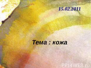 Тема : кожа 15.02.2011