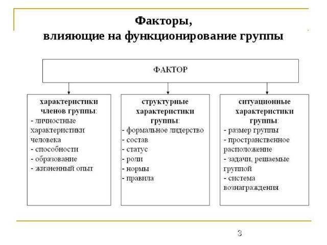 Факторы,влияющие на функционирование группы