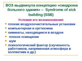 ВОЗ выдвинула концепцию «синдрома больного здания» – Syndrome of sick building (