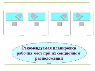 Рекомендуемая планировка рабочих мест при их секционном расположении