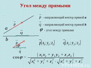 Угол между прямыми - направляющий вектор прямой а - направляющий вектор прямой b