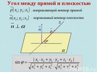 Угол между прямой и плоскостью - направляющий вектор прямой - нормальный вектор