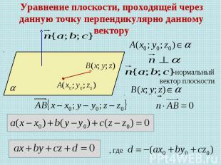 Уравнение плоскости, проходящей через данную точку перпендикулярно данному векто