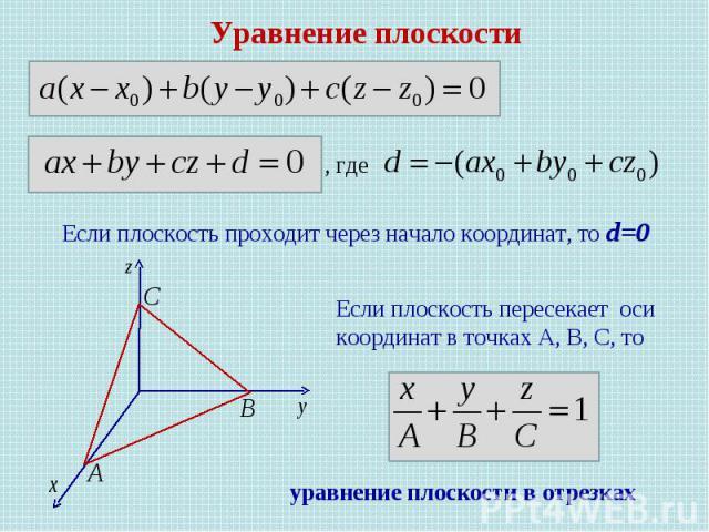 Уравнение плоскости Если плоскость проходит через начало координат, то d=0 Если плоскость пересекает оси координат в точках А, В, С, то , где уравнение плоскости в отрезках