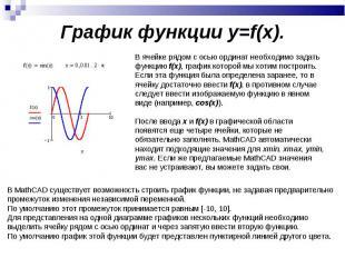График функции y=f(x). В ячейке рядом с осью ординат необходимо задать функцию f