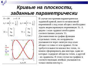 Кривые на плоскости, заданные параметрически В случае построения параметрически