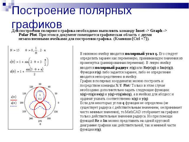 Построение полярных графиков Для построения полярного графика необходимо выполнить команду Inset -> Graph -> Polar Plot. При этом в документ помещается графическая область с двумя незаполненными ячейками для построения графика. (Клавиши [Ctrl +7]). …