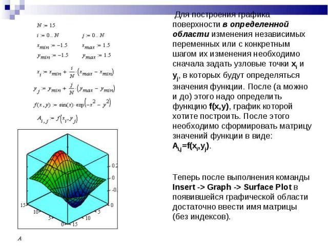 Для построения графика поверхности в определенной области изменения независимых переменных или с конкретным шагом их изменения необходимо сначала задать узловые точки xi и yj, в которых будут определяться значения функции. После (а можно и до) этого…