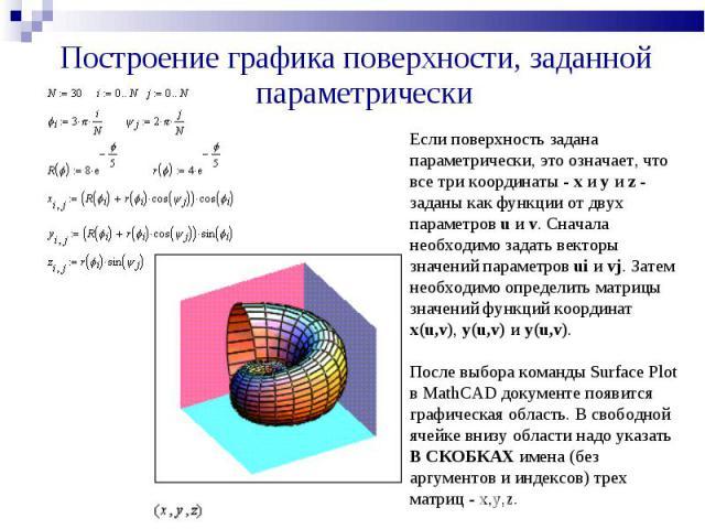 Построение графика поверхности, заданной параметрически Если поверхность задана параметрически, это означает, что все три координаты - x и y и z - заданы как функции от двух параметров u и v. Сначала необходимо задать векторы значений параметров ui …