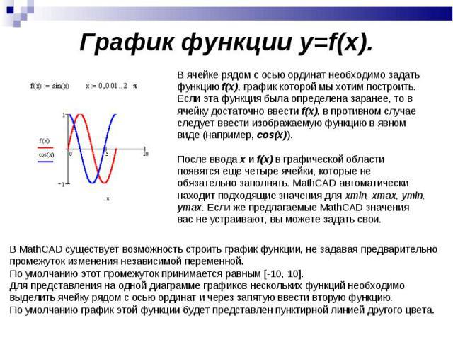 График функции y=f(x). В ячейке рядом с осью ординат необходимо задать функцию f(x), график которой мы хотим построить. Если эта функция была определена заранее, то в ячейку достаточно ввести f(x), в противном случае следует ввести изображаемую функ…