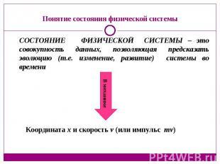 Понятие состояния физической системы СОСТОЯНИЕ ФИЗИЧЕСКОЙ СИСТЕМЫ – это совокупн