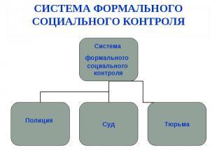 СИСТЕМА ФОРМАЛЬНОГО СОЦИАЛЬНОГО КОНТРОЛЯ Система формального социального контрол
