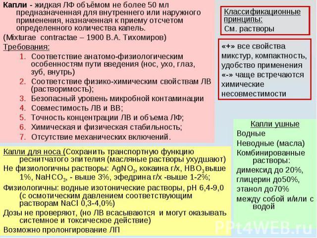 Капли - жидкая ЛФ объёмом не более 50 мл предназначенная для внутреннего или наружного применения, назначенная к приему отсчетом определенного количества капель. (Mixturae contractae – 1900 В.А. Тихомиров) Требования: Соответствие анатомо-физиологич…