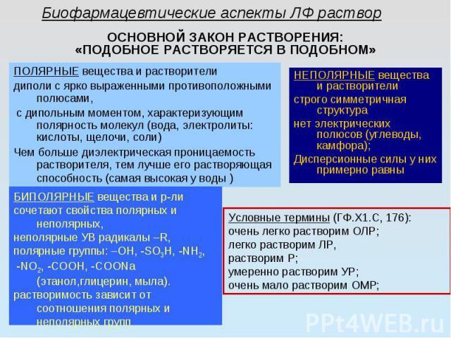 ОСНОВНОЙ ЗАКОН РАСТВОРЕНИЯ: «ПОДОБНОЕ РАСТВОРЯЕТСЯ В ПОДОБНОМ» ПОЛЯРНЫЕ вещества и растворители диполи с ярко выраженными противоположными полюсами, с дипольным моментом, характеризующим полярность молекул (вода, электролиты: кислоты, щелочи, соли) …