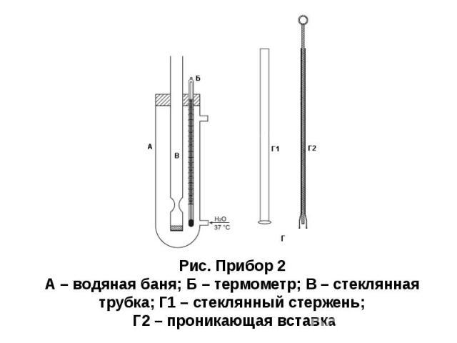 Рис. Прибор 2 А – водяная баня; Б – термометр; В – стеклянная трубка; Г1 – стеклянный стержень; Г2 – проникающая вставка