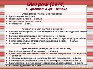 Glasgow (1974) Б. Дженнет и Дж. Тисдейл Открывание глаз (E, Eye response) Произв