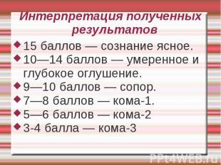 Интерпретация полученных результатов 15 баллов — сознание ясное. 10—14 баллов —