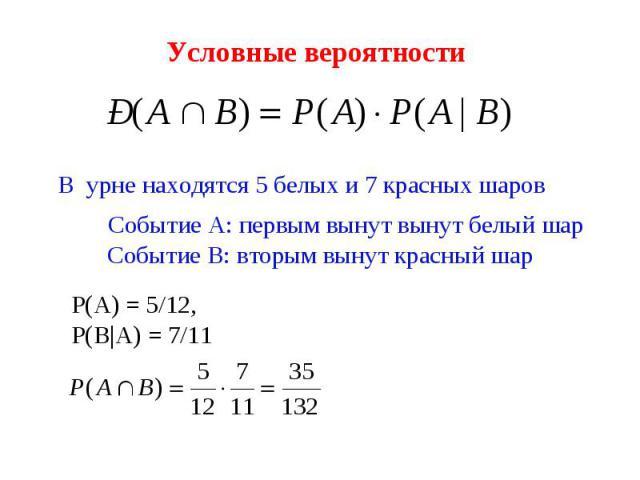 Условные вероятности В урне находятся 5 белых и 7 красных шаров Событие А: первым вынут вынут белый шар Событие В: вторым вынут красный шар Р(А) = 5/12, Р(В|А) = 7/11