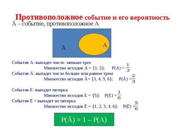 Противоположное событие и его вероятность A Ā Ā – событие, противоположное А Событие А: выпадет число меньше трех Множество исходов А = {1, 2}; Р(А) = Событие Ā: выпадет число больше или равное трем Множество исходов Ā= {3, 4, 5, 6}; Р(Ā) = Событие …