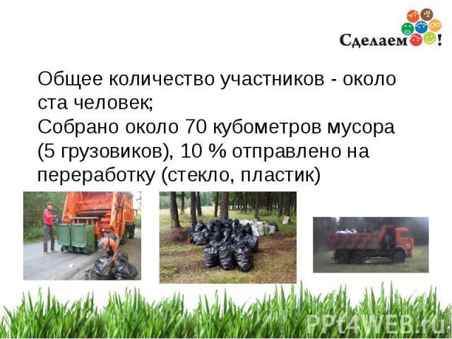 * Общее количество участников - около ста человек; Собрано около 70 кубометров мусора (5 грузовиков), 10 % отправлено на переработку (стекло, пластик)