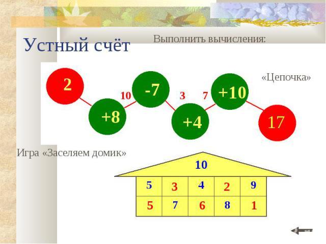 2 +8 -7 +4 +10 Устный счёт Выполнить вычисления: Игра «Заселяем домик» 10 8 7 9 4 5 10 «Цепочка» 10 3 7 5 3 6 2 1 17