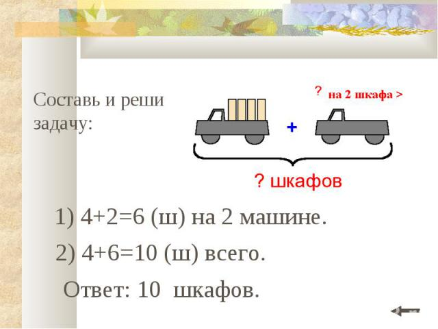 Составь и реши задачу: 1) 4+2=6 (ш) на 2 машине. Ответ: 10 шкафов. 2) 4+6=10 (ш) всего.