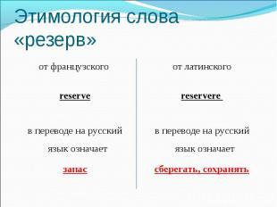 Этимология слова «резерв» от французского reserve в переводе на русский язык озн