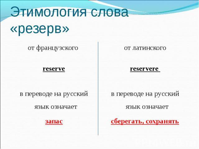 Этимология слова «резерв» от французского reserve в переводе на русский язык означает запас от латинского reservere в переводе на русский язык означает сберегать, сохранять