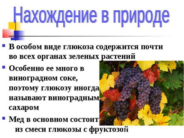 В особом виде глюкоза содержится почти во всех органах зеленых растений Особенно ее много в виноградном соке, поэтому глюкозу иногда называют виноградным сахаром Мед в основном состоит из смеси глюкозы с фруктозой