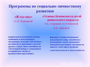 Программы по социально-личностному развитию «Я-ты-мы» О.Л. Князевой «Основы безо