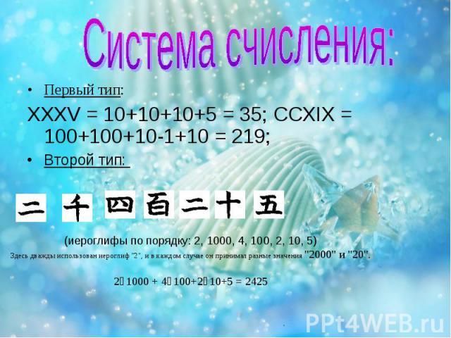 Первый тип: XXXV = 10+10+10+5 = 35; CCXIX = 100+100+10-1+10 = 219; Второй тип: (иероглифы по порядку: 2, 1000, 4, 100, 2, 10, 5) Здесь дважды использован иероглиф \