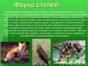 Животный мир степи имеет много общего с животным миром пустыни. Также, как и в п