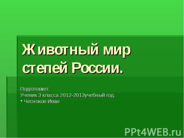 Животный мир степей России. Подготовил: Ученик 3 класса 2012-2013учебный год. Чесноков Иван