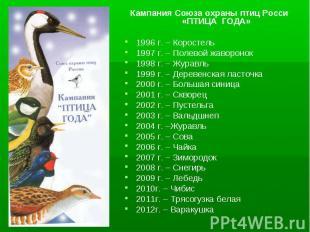 Кампания Союза охраны птиц Росси «ПТИЦА ГОДА» 1996 г. – Коростель 1997 г. – Поле