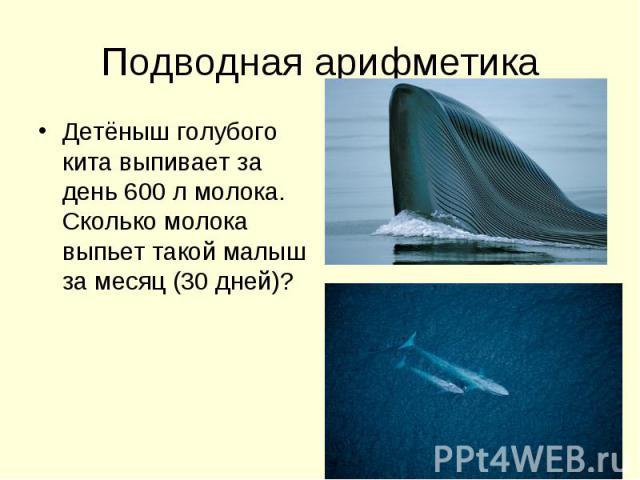 Подводная арифметика Детёныш голубого кита выпивает за день 600 л молока. Сколько молока выпьет такой малыш за месяц (30 дней)?
