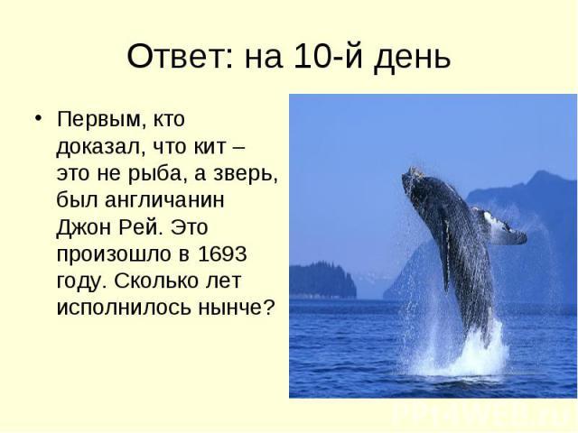 Ответ: на 10-й день Первым, кто доказал, что кит – это не рыба, а зверь, был англичанин Джон Рей. Это произошло в 1693 году. Сколько лет исполнилось нынче?