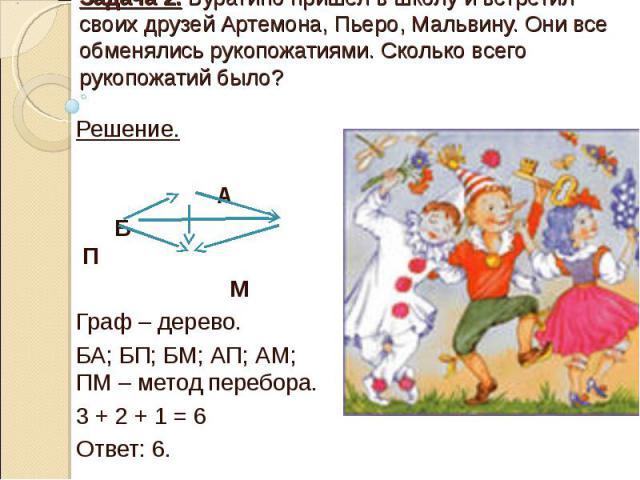 Задача 2. Буратино пришел в школу и встретил своих друзей Артемона, Пьеро, Мальвину. Они все обменялись рукопожатиями. Сколько всего рукопожатий было? Решение. А Б П М Граф – дерево. БА; БП; БМ; АП; АМ; ПМ – метод перебора. 3 + 2 + 1 = 6 Ответ: 6.