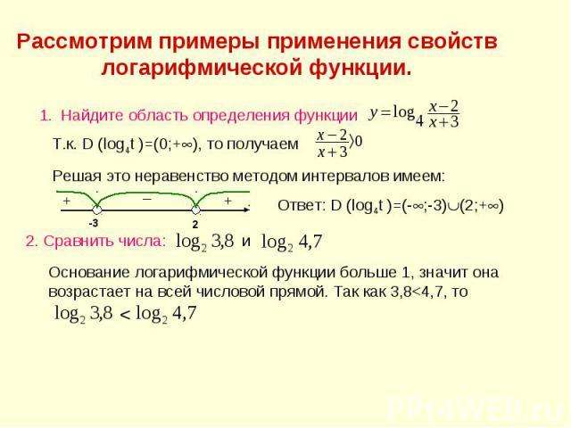 Рассмотрим примеры применения свойств логарифмической функции. Найдите область определения функции Т.к. D (log4t )=(0;+), то получаем Решая это неравенство методом интервалов имеем: Ответ: D (log4t )=(-;-3)(2;+) 2. Сравнить числа: и Основание логари…