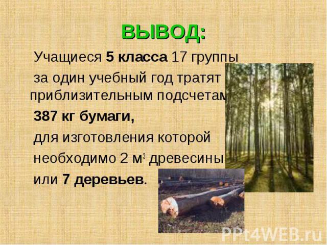 ВЫВОД: Учащиеся 5 класса 17 группы за один учебный год тратят по приблизительным подсчетам 387 кг бумаги, для изготовления которой необходимо 2 м3 древесины или 7 деревьев.