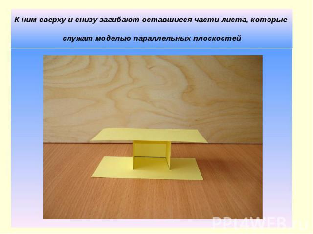 К ним сверху и снизу загибают оставшиеся части листа, которые служат моделью параллельных плоскостей