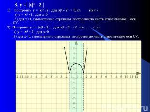 3. у =| |х|і - 2 | 1). Построить у = |х|і - 2 , для |х|і - 2 > 0, x> и x< - а) у