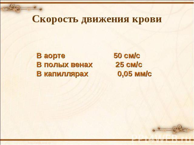В аорте 50 см/с В полых венах 25 см/с В капиллярах 0,05 мм/с Скорость движения крови