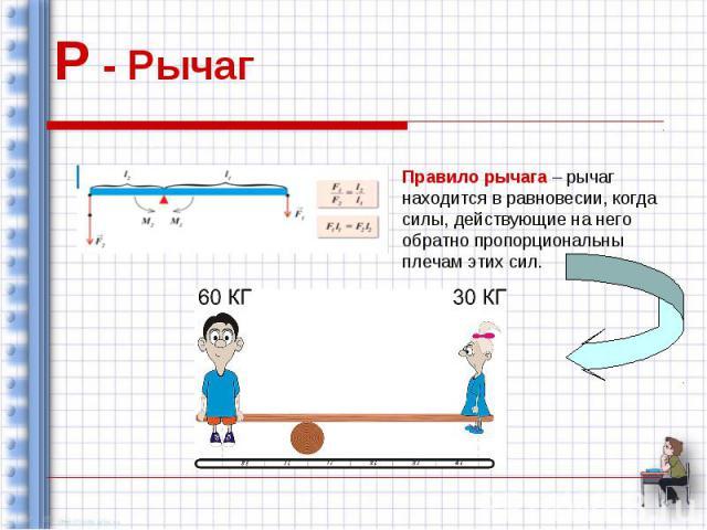Р - Рычаг Правило рычага – рычаг находится в равновесии, когда силы, действующие на него обратно пропорциональны плечам этих сил.