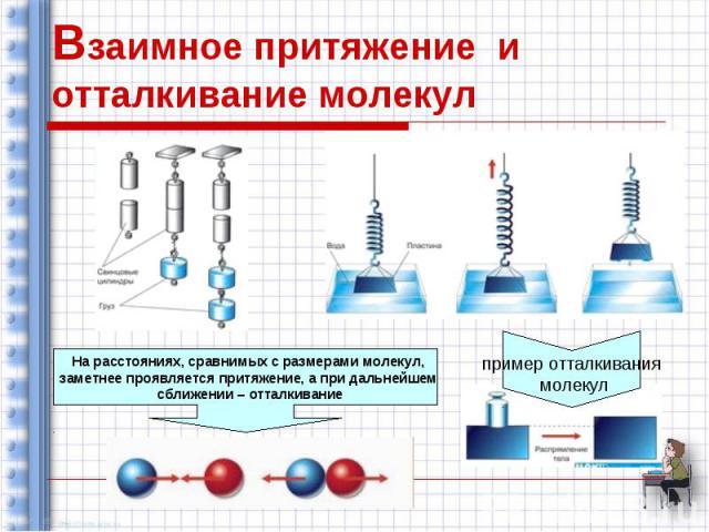 Взаимное притяжение и отталкивание молекул На расстояниях, сравнимых с размерами молекул, заметнее проявляется притяжение, а при дальнейшем сближении – отталкивание пример отталкивания молекул