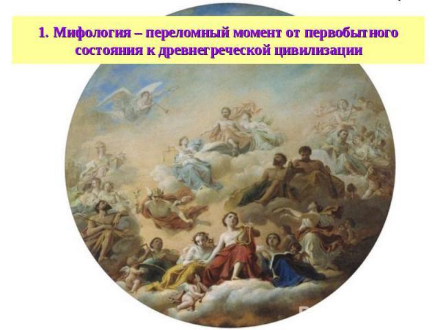 1. Мифология – переломный момент от первобытного состояния к древнегреческой цивилизации