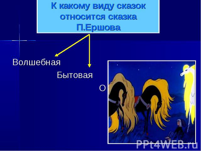 К какому виду сказок относится сказка П.Ершова Волшебная Бытовая О животных