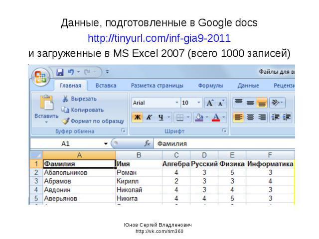 Данные, подготовленные в Google docs http://tinyurl.com/inf-gia9-2011 и загруженные в MS Excel 2007 (всего 1000 записей) Юнов Сергей Владленович http://vk.com/rim360